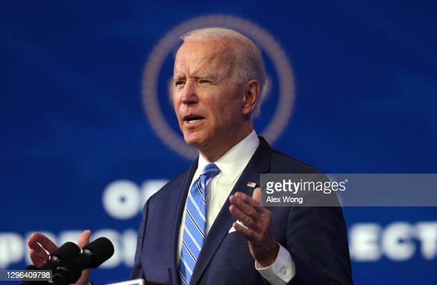 President-elect Joe Biden speaks as he lays out his plan for combating the coronavirus and jump-starting the nation's economy at the Queen theater...