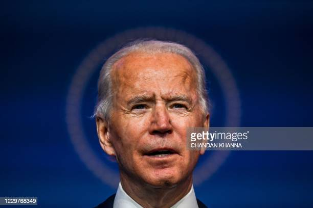 President-elect Joe Biden speaks during a cabinet announcement event in Wilmington, Delaware, on November 24, 2020. - US President-elect Joe Biden...