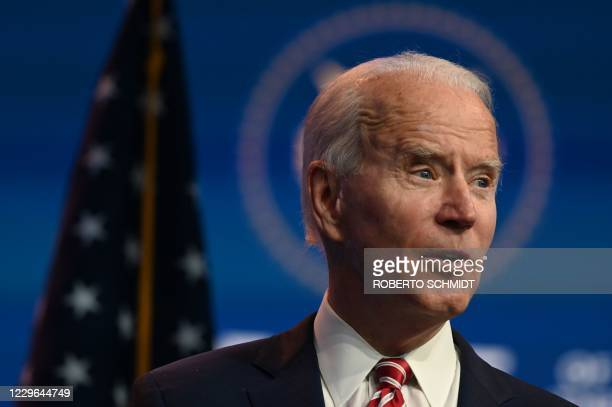 President-elect Joe Biden speaks during a press conference at The Queen in Wilmington, Delaware on November 16, 2020. - US President-elect Joe Biden...