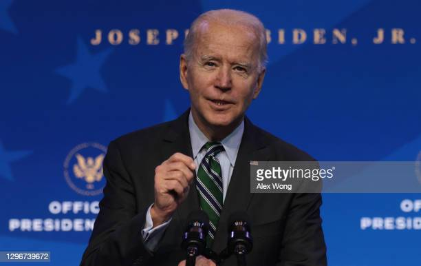 President-elect Joe Biden speaks during an announcement January 16, 2021 at the Queen theater in Wilmington, Delaware. President-elect Joe Biden has...