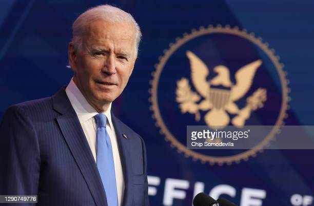 President-elect Joe Biden speaks during an event to announce new cabinet nominations at the Queen Theatre on December 11, 2020 in Wilmington,...