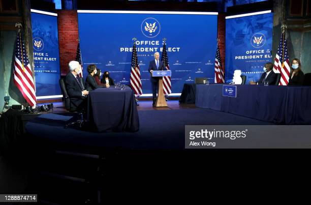 President-elect Joe Biden speaks during an event to name his economic team at the Queen Theater on December 1, 2020 in Wilmington, Delaware. Biden is...
