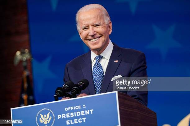 President-elect Joe Biden speaks prior to the holiday at the Queen theatre on December 22, 2020 in Wilmington, Delaware. Biden spoke ahead of the...