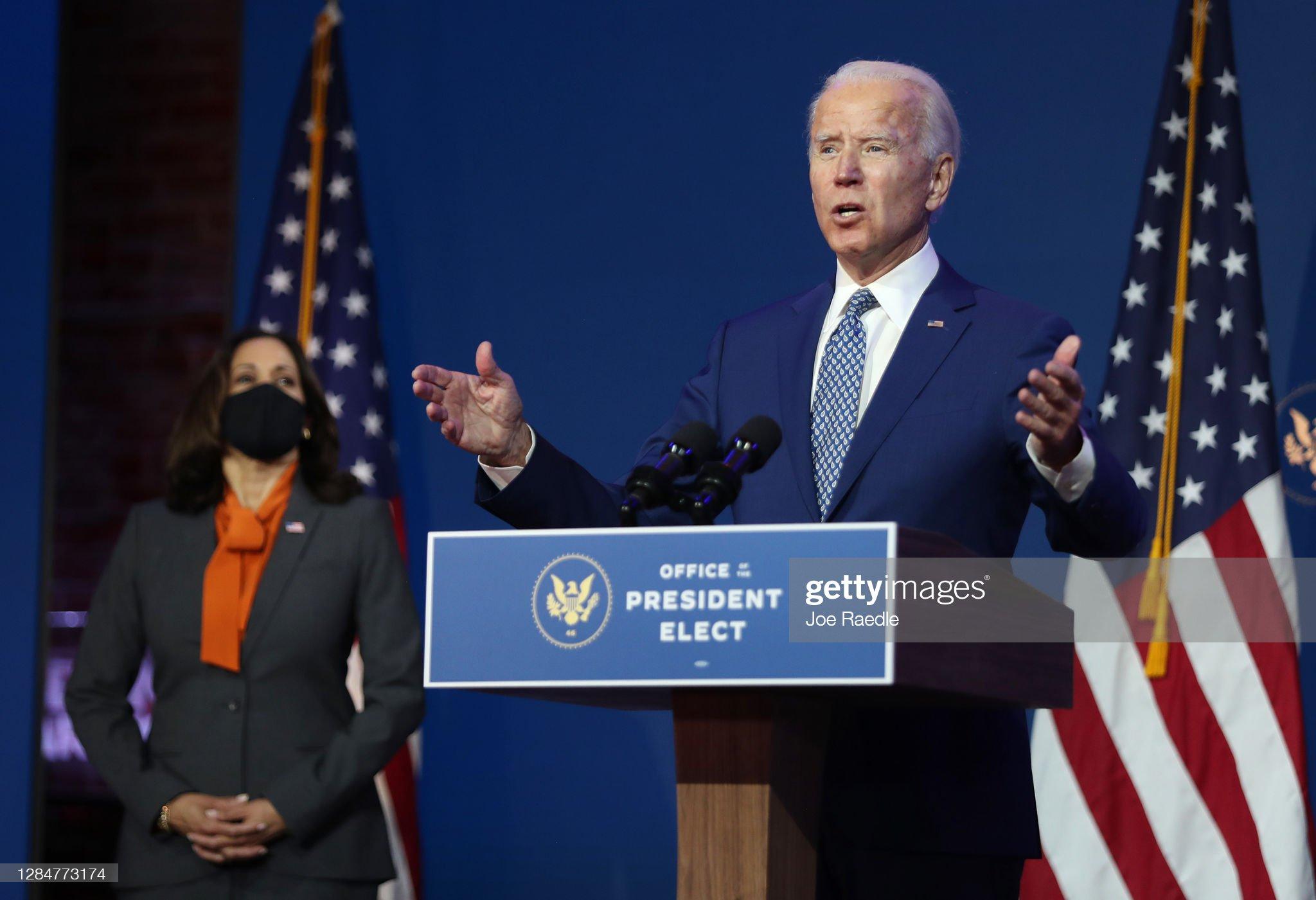 President-Elect Joe Biden Delivers Remarks On Coronavirus And US Economy : News Photo