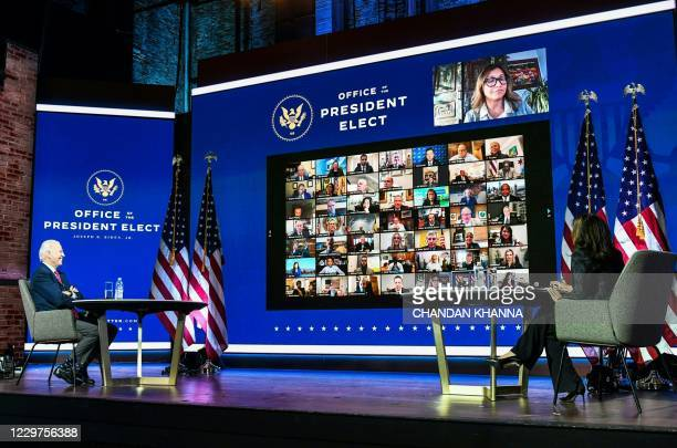 President-elect Joe Biden with Vice President-elect Kamala Harris participates in a virtual meeting with the United States Conference of Mayors at...