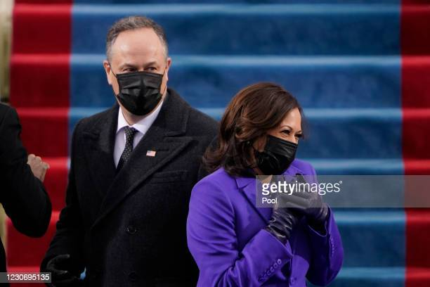 President-elect Kamala Harris and her husband Doug Emhoff, arrive for the the 59th inaugural ceremony on the West Front of the U.S. Capitol on...