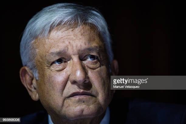 Presidentelect of Mexico Andres Manuel Lopez Obrador gestures during a press conference to announce Marcelo Ebrard's appointment as Minister of...