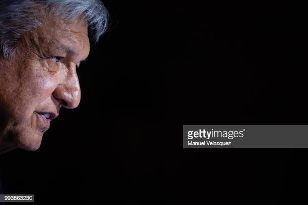 Presidentelect of Mexico Andres Manuel Lopez Obrador speaks during a press conference to announce Marcelo Ebrard's appointment as Minister of Foreign...