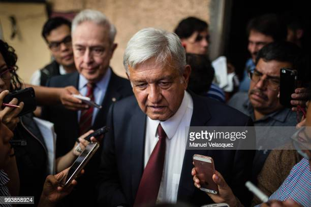 Presidentelect of Mexico Andres Manuel Lopez Obrador speaks to the media after a press conference to announce Marcelo Ebrard's appointment as...