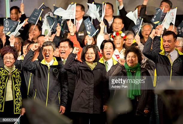 Presidentelect Tsai Ingwen chant slogan with supporters at DPP headquarter on January 16 2016 in Taipei Taiwan Tsai Ingwen the chairwoman of the...