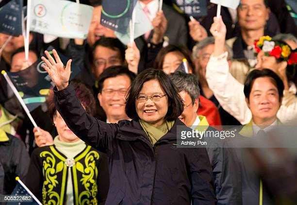 Presidentelect Tsai Ingwen waves supporters at DPP headquarter on January 16 2016 in Taipei Taiwan Tsai Ingwen the chairwoman of the opposition...