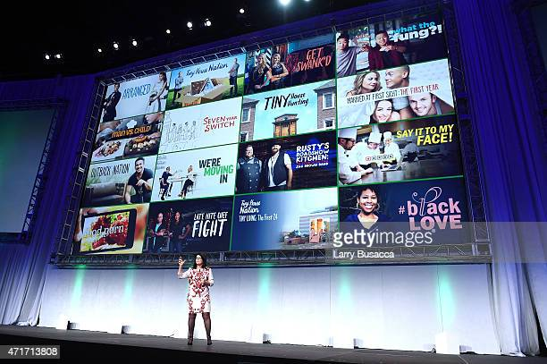 PresidentFYI and LMN Jana Bennett speaks at the 2015 AE Networks Upfront on April 30 2015 in New York City