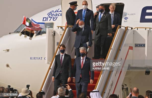 Presidential Adviser Jared Kushner and US National Security Adviser Robert OBrien disembark from the the El Al's airliner which is carrying a...