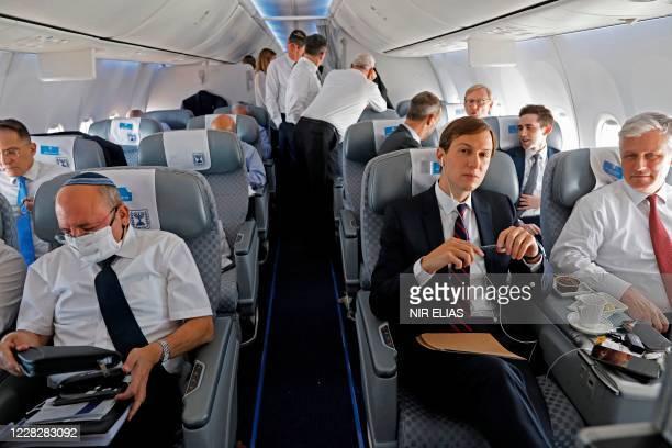 Presidential Adviser Jared Kushner and US National Security Adviser Robert OBrien and Head of Israel's National Security Council Meir Ben-Shabbat sit...