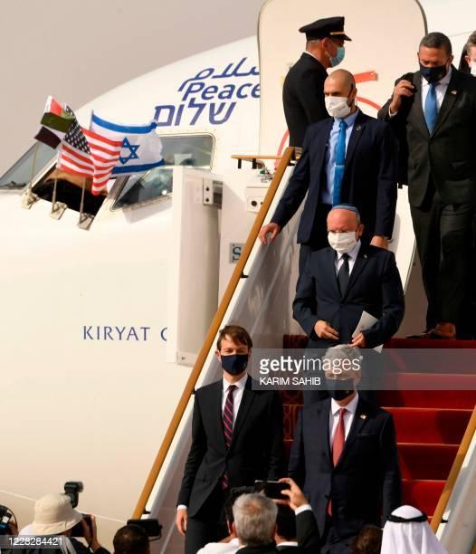 Presidential Adviser Jared Kushner and US National Security Adviser Robert OBrien and Head of Israel's National Security Council Meir Ben-Shabbat...