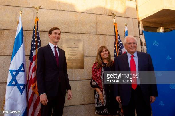 Presidential Adviser Jared Kushner poses with Ambassador David Friedman , and his wife Tammy , after the unveiling of a plaque at the embassy grounds...