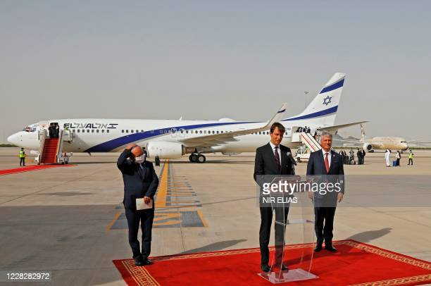 Presidential Adviser Jared Kushner speaks as he stands next to the Head of Israel's National Security Council Meir Ben-Shabbat and US National...