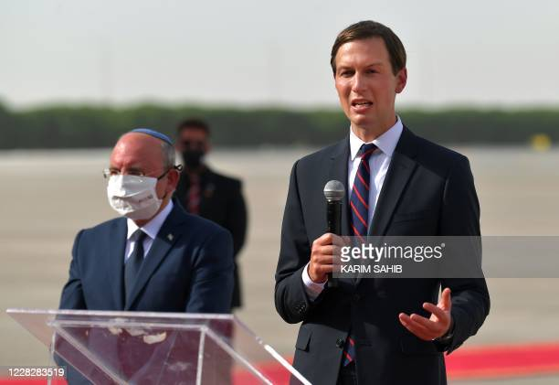 Presidential Adviser Jared Kushner speaks as he stands next to the Head of Israel's National Security Council Meir Ben-Shabbat at the Abu Dhabi...
