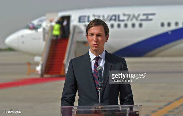 Presidential Adviser Jared Kushner speaks in front of an air-plane of El Al at the Abu Dhabi airport, following the arrival of the the first-ever...