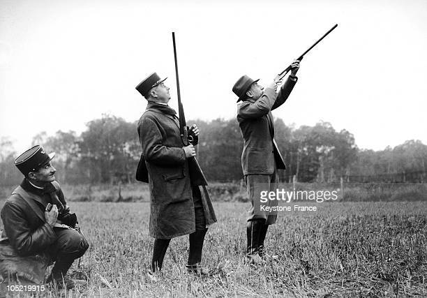 Presidential And Parliamentary Hunting In Rambouillet. The Chief Executive Officer Of Renault Shooting A Pheasant. 19381109