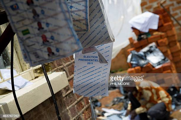 Presidential ballot papers hang to dry in the National Independent Electoral Commisson in Lubumbashi on December 5 2011 The announcement of the...