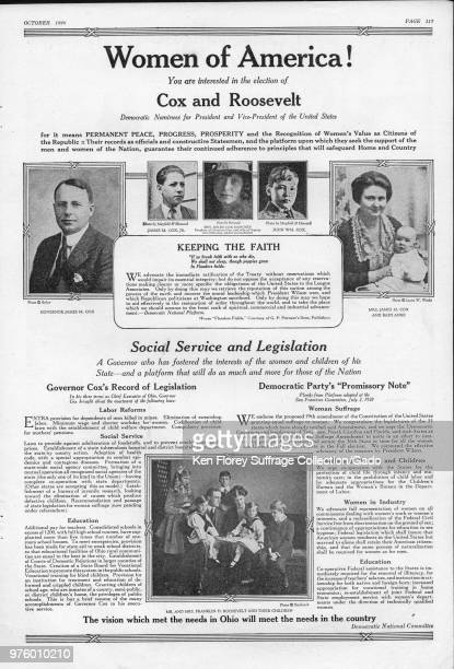 Presidential campaign advertisement for the Democratic team of James M Cox and Franklin D Roosevelt with black and white portrait photographs of...