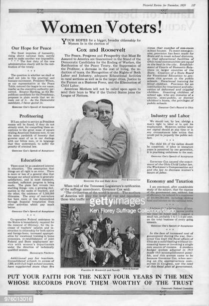 Presidential campaign advertisement for the Democratic team of James M Cox and Franklin D Roosevelt with black and white photographs of Governor Cox...