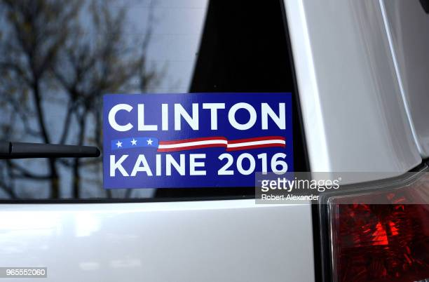 S presidential campaign 'bumper sticker' in the rear window of a car parked in Alexandria Virginia indicates the owner's support of Hillary Clinton