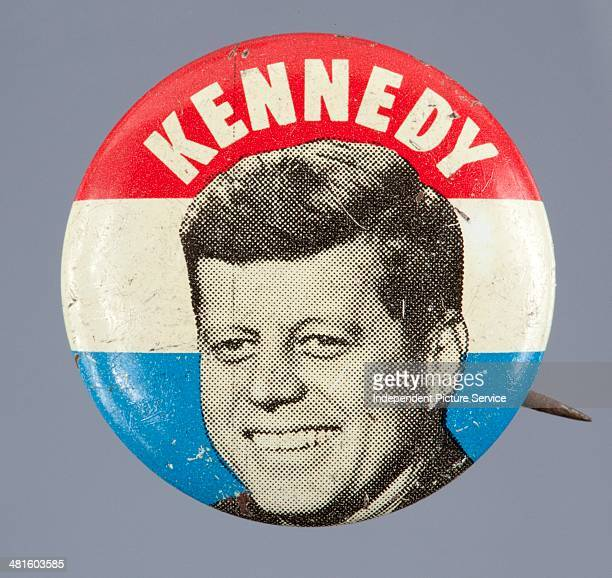 S presidential campaign button for John F Kennedy