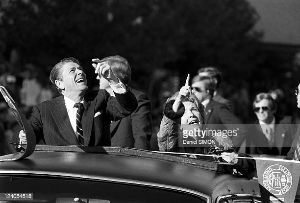 Presidential campaign of Ronald Reagan In Illinois United States On October 18 1980 With his wife Nancy