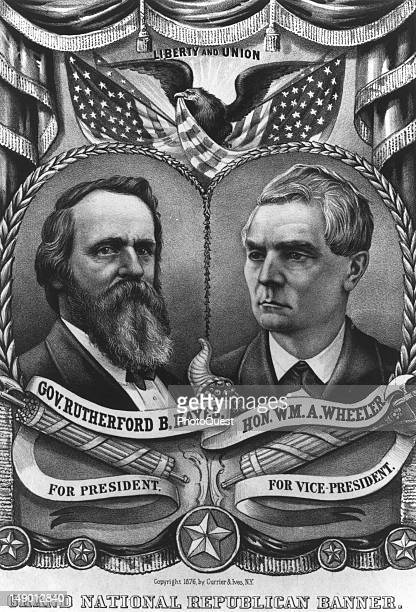 US Presidential campaign poster for Republican candidates Rutherford B Hayes and William A Wheeler 1876