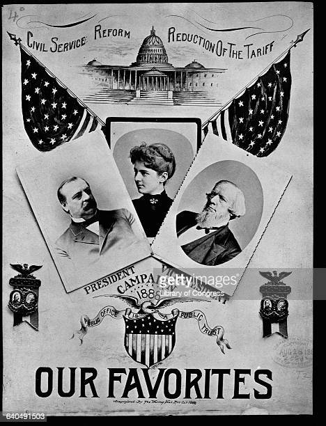 A presidential campaign poster from 1888 features President Grover Cleveland his wife Frances Folsom and vice presidential candidate Allen G Thurman...