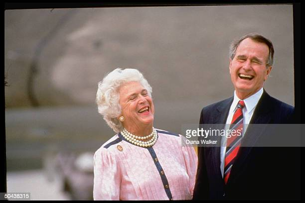 Presidential cand. VP George & Barbara Bush sharing laugh, arriving for Repub. Natl. Convention.