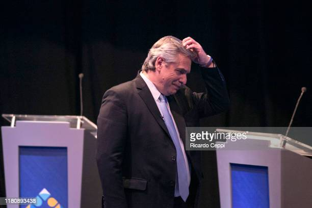 Presidential candidate Alberto Fernandez for Frente de Todos party gestures during the first session of the Argentine presidential debate at...