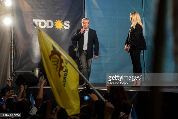 Presidential candidate Alberto Fernandez talks to supporters at the Frente de Todos party headquarters during the Simultaneous and Mandatory Open...