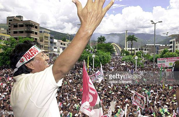 Presidential candidate Alejandro Toledo greets supporters during a rally March 24 2001 in Jaen northwest of Lima Peru Toledo called a report that he...
