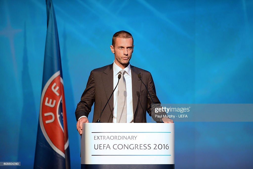 Presidential Candidate Aleksander Ceferin speaking at the 12th Extraordinary UEFA Congress at the Grand Resort Lagonissi Hotel, on September 14, 2016 in Athens, Greece.