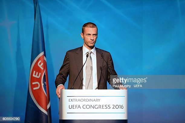 Presidential Candidate Aleksander Ceferin speaking at the 12th Extraordinary UEFA Congress at the Grand Resort Lagonissi Hotel on September 14 2016...