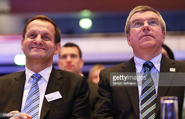 Presidential Candidate Alfons Hoermann and IOC President and former DOSB President Thomas Bach attend the DOSB general assembly at RheinMainHallen on...