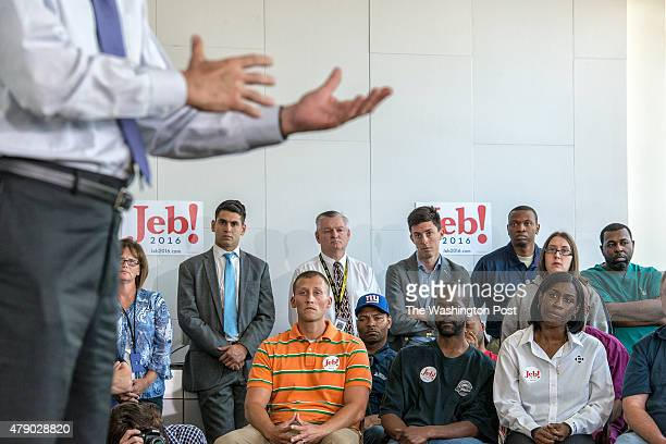 Presidential candidate and former Florida governor Jeb Bush tours the Nephron Pharmaceutical Company on June 29 2015 in West Columbia South Carolina