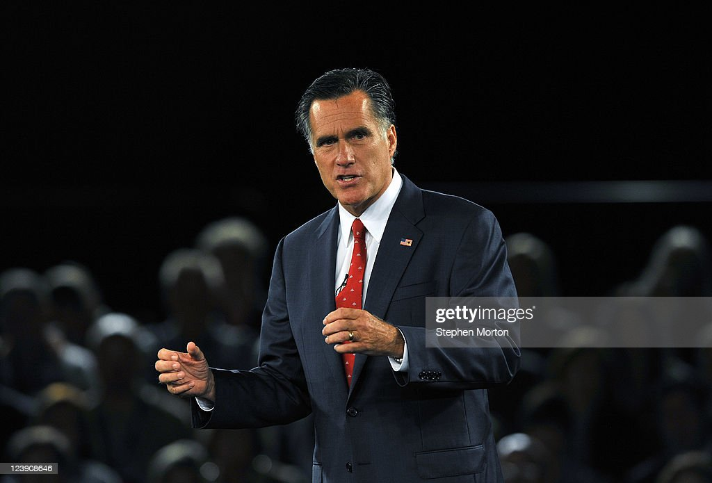 GOP Presidential candidate and former Massachusetts Governor Mitt Romney makes opening remarks during the American Principles Project Palmetto Freedom Forum, September 5, 2011 in Columbia, South Carolina. Herman Cain, Ron Paul, Michelle Bachmann and Newt Gingrich are also scheduled to attend the forum hosted by Sen. Jim DeMint (R-SC). Texas Governor Rick Perry was scheduled to attend as well, but he decided to return to Texas because of the wildfires burning across the state.