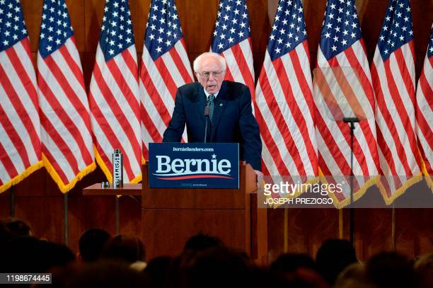 US Presidential Candidate and US Senator Bernie Sanders gives his response to US President Donald Trump's State of the Union speech to a room of...