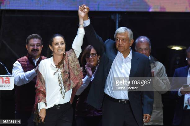 Presidential candidate Andres Manuel Lopez Obrador and Claudia Sheinbaum wave during the final event of the 2018 Presidential Campaign at Azteca...
