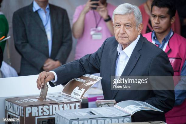 Presidential candidate Andres Manuel Lopez Obrador casts his vote during Mexico 2018 Presidential Election on July 1, 2018 in Mexico City, Mexico.