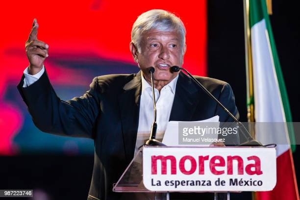 Presidential candidate Andres Manuel Lopez Obrador delivers a speech during the final event of the 2018 Presidential Campaign at Azteca Stadium on...