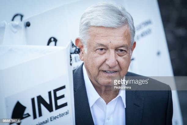 Presidential candidate Andres Manuel Lopez Obrador looks on after casting his vote during the Mexico 2018 Presidential Election on July 1 2018 in...