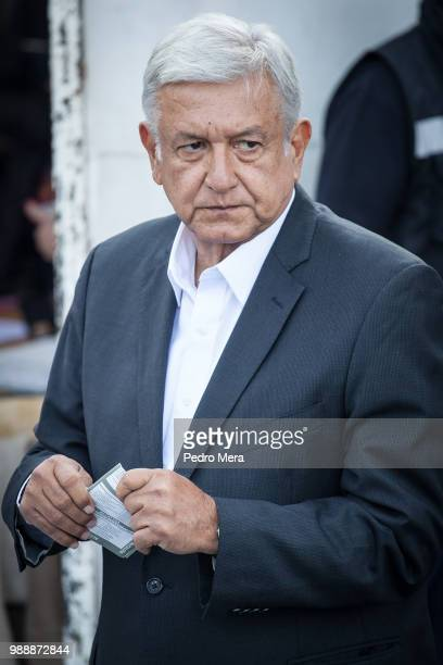 Presidential candidate Andres Manuel Lopez Obrador looks on prior casting his vote during the Mexico 2018 Presidential Election on July 1 2018 in...