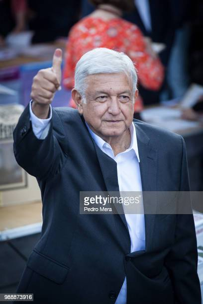 Presidential candidate Andres Manuel Lopez Obrador reacts after voting during the Mexico 2018 Presidential Election on July 1 2018 in Mexico City...