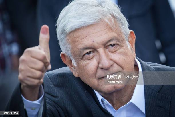Presidential candidate Andres Manuel Lopez Obrador waves after voting as part of the Mexico 2018 Presidential Election on July 1 2018 in Mexico City...