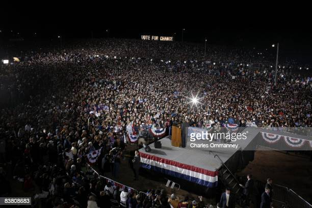 Presidential candidate Barack Obama addresses his final rally on the final day of campaigning November 3 2008 at the Prince William County...